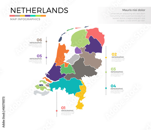 Netherlands country map infographic colored vector template with ...