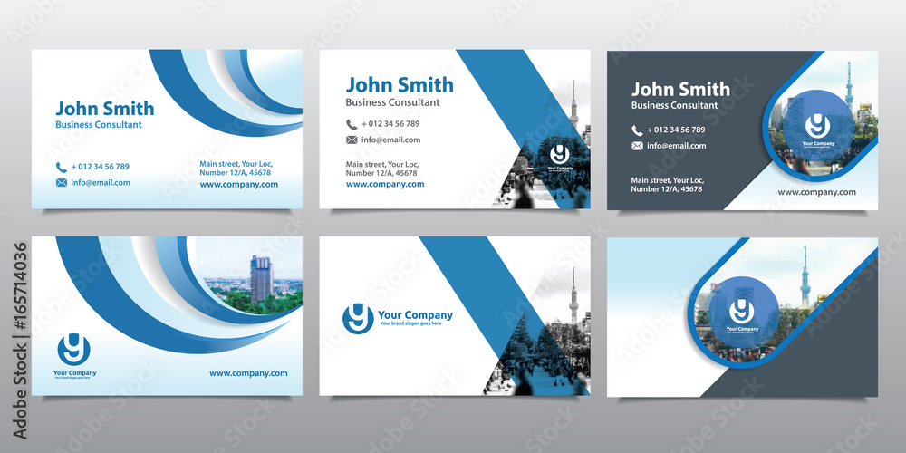 Fototapety, obrazy: City Background Business Card Design Template Set. Can be adapt to Brochure, Annual Report, Magazine,Poster, Corporate Presentation, Portfolio, Flyer, Website