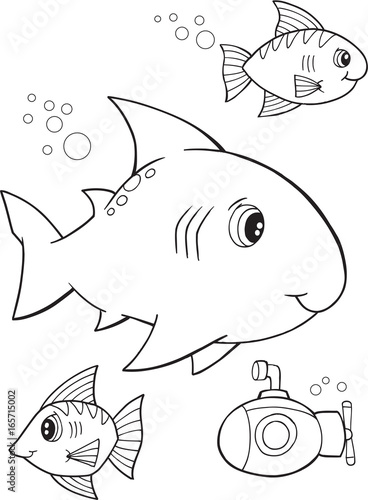 Papiers peints Cartoon draw Cute Shark Vector Illustration Coloring Page