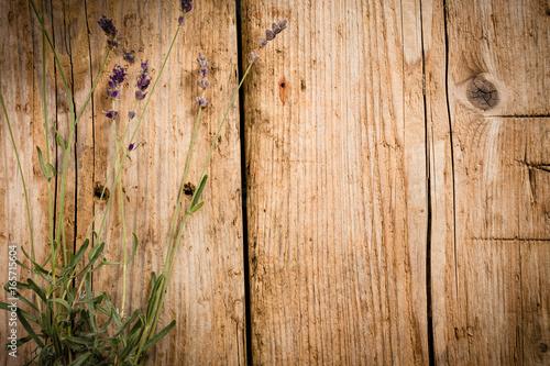 Fotografie, Obraz  Belle planche de bois avec fleurs de lavande
