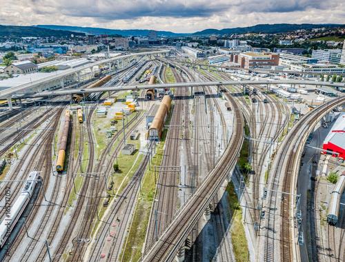 Photo  Aerial view of railroad tracks