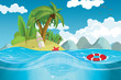 A paradise island in the middle of the sea vector illustration