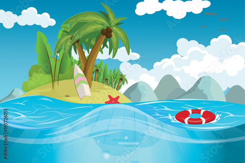 Wall Murals Green coral A paradise island in the middle of the sea vector illustration