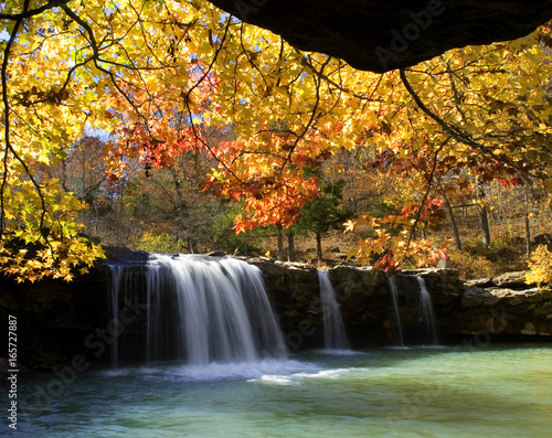 Autumn surrounds Falling Water Falls with fall colors, Ozark National Forest, Ar Canvas Print