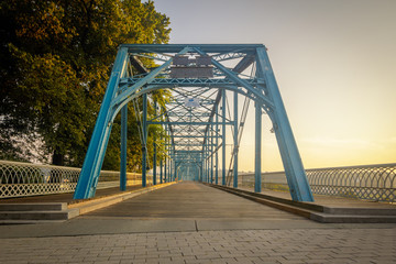 Walnut Street walking Bridge Chattanooga, TN. Built in 1890 this is now exclusively for pedestrian and bicycle use.