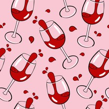 Seamless Pattern With Wine Glasses, Hand Drawn Vector Illustration, Can Be Used For Wallpaper, Web Page Background, Greeting Cards, Poster, Fabric Print