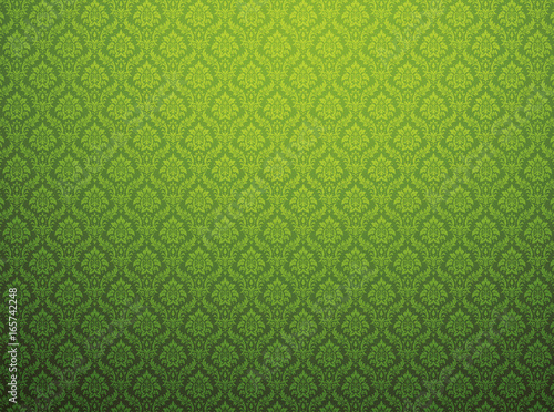 Green damask pattern background - 165742248