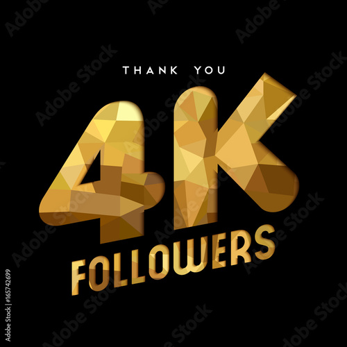 Fotografie, Obraz  4k gold internet follower number thank you card