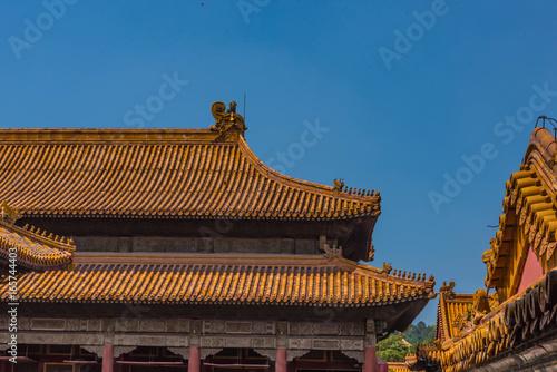 Foto op Canvas Beijing Peking Verbotene Stadt Dächer Detailansicht