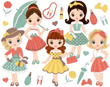 Vector Set With Cute Little Gi...