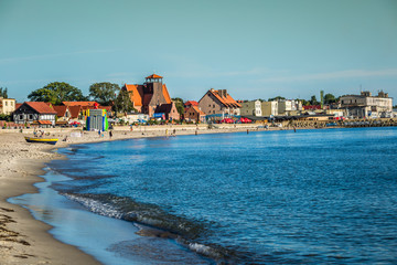 Hel,Poland-September 6,2016:Resort town of Hel in Pomerania, Poland, promenade and beach at Baltic Sea, popular vacation destination