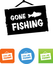 Gone Fishing Icon - Illustration