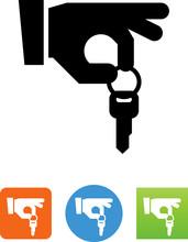 Hand Holding Key Icon - Illustration
