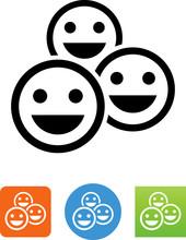 Happy Crowd Icon - Illustration