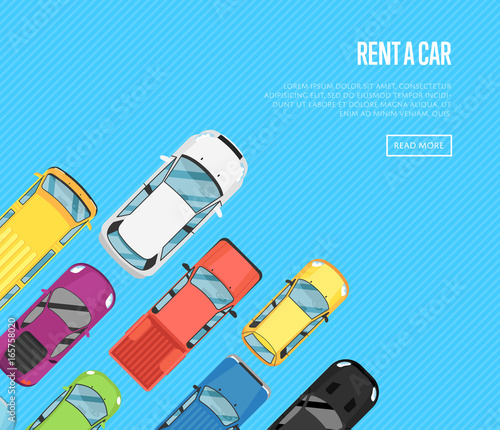Rent A Car Poster With Top View City Cars Auto Business Advertising Test Drive Concept Automobile Selling Leasing Or Renting Car Banner Transport Service Online Pre Order Car Vector Illustration Buy