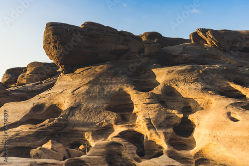 Landscape view of Sam Pan Bok or Thai grand canyon with sunrise in Ubon Ratchathani, Thailand.