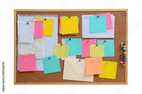 Fotografie, Obraz  Blank notes pinned into brown corkboard