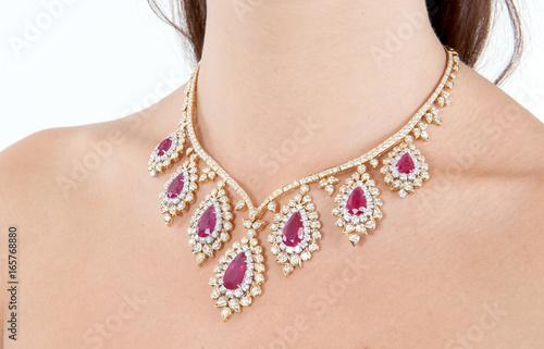 Leinwand Poster Beautiful and luxury diamond necklace