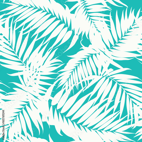 obraz lub plakat Tropical khaki camouflage seamless background texture. White jungle tree leaves on turquoise blue backdrop. Fashion fabric pattern. Vector design illustration.
