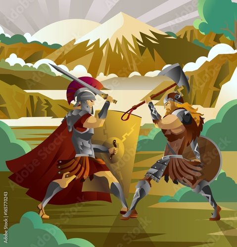 Fotografía roman legionary soldier fighting german barbarian in mountain forest