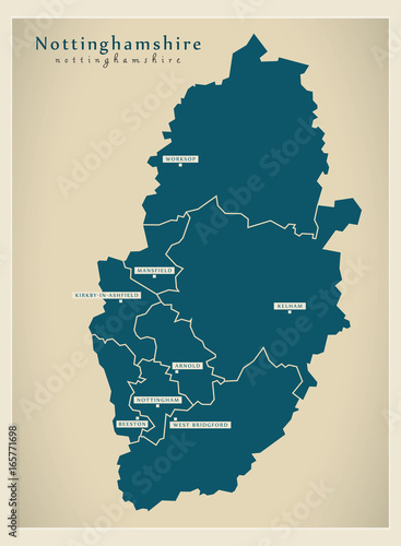 Photo Modern Map - Nottinghamshire county with cities and districts England UK illustr
