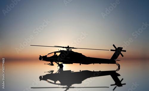 Plakat śmigłowiec Apache na zestawie słońca
