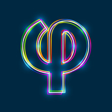 Greek Small Letter Phi - Vector Multicolored Outline Font With Glowing Effect Isolated On Blue Background. EPS10