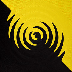 Fototapeta Abstrakcja Abstract geometrical black and yellow background from curve swirl shapes