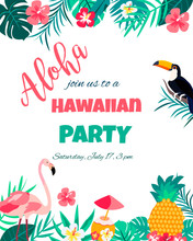 Tropical Floral Poster With Toucan And Flamingo - For Invitation, Wedding, Baby Shower Card