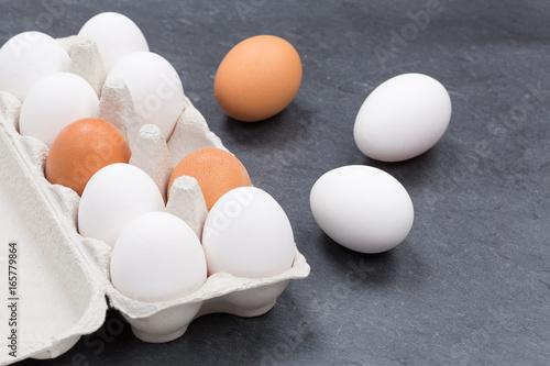 Plakat Jajek pudełkowaty jajecznego pudełka jajka łupkowy jedzenie