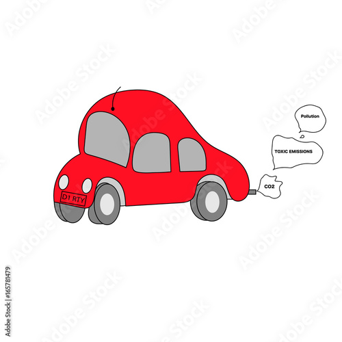 Obraz na plátně  childlike drawing of red car putting out smoke clouds from exhaust with the word