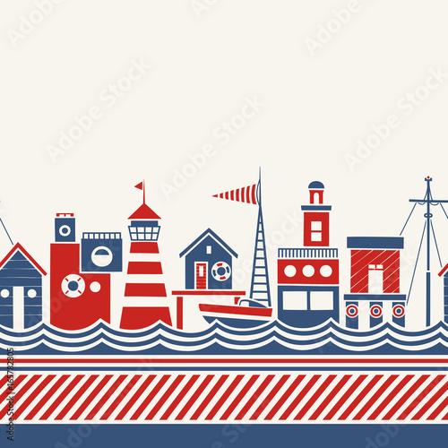 wektorowa-ilustracja-przybrzeznych-budynkow-lodzi-i-morza-styl-marynistyczny