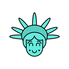 Statue Of Liberty Face Emoji. Sightseeing America. Happy Head Of Sculpture Of United States.  Lucky Avatar New York. American Symbol Of Freedom.