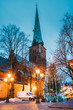 Riga, Latvia. St James's Cathedral Basilica And Holiday Xmas Christmas