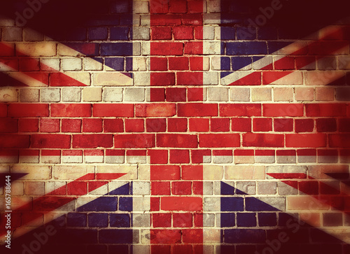 Vászonkép Vintage UK flag on a brick wall