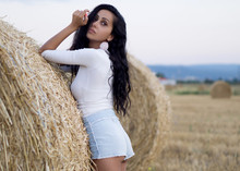 Hay Bales Woman Sexy Ass