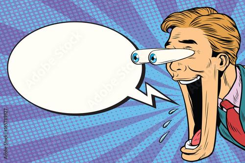 Fotografía  Hyper expressive reaction cartoon man face, Comic bubble