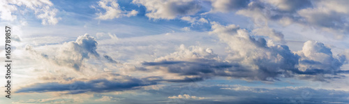 background, panorama of the sky with dramatic clouds