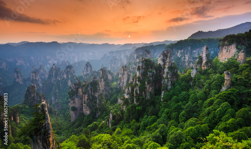 Zhangjiajie National forest park at sunset, Wulingyuan, Hunan, China Canvas Print