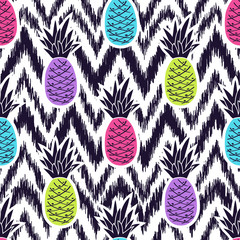 FototapetaVector seamless black and white ikat ethnic pattern with colorful pineapples