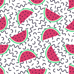 Vector seamless pattern with watermelon and geometric elements in memphis style. Summer tropical design