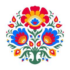 round folk flowers decor