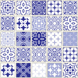 Fototapeta Panels - Veector navy blue tiles pattern, Azulejo - Portuguese seamless tile design, ceramics set