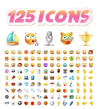 Set Of Realistic Cute Icons On...