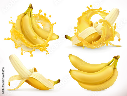 Banana juice. Fresh fruit and splash, 3d realistic vector icon Poster