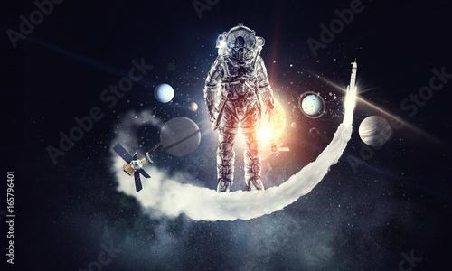 Poster UFO Astronaut surfing dark sky. Mixed media