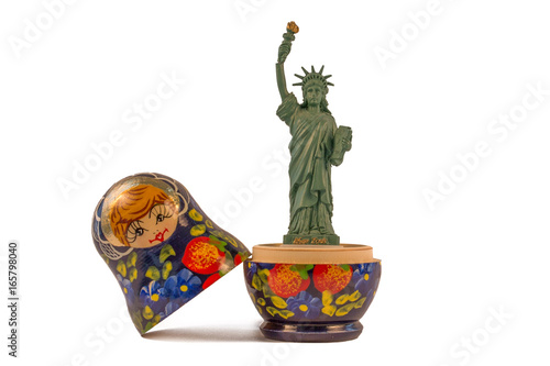 Model of the Statue of Liberty inside a Russian babushka doll Canvas Print