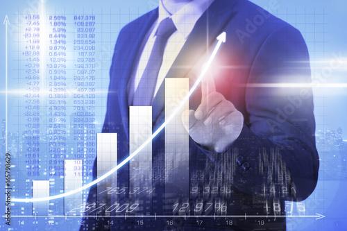 Fototapeta business Man steigende Gewinne obraz