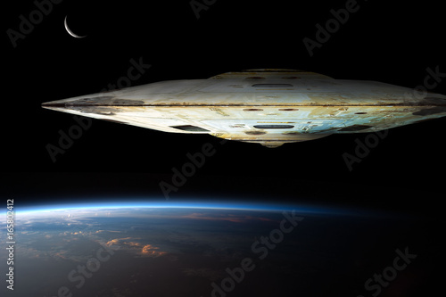 Photo  A fleet of massive spaceships known as motherships take position over Earth for a coming invasion at sunrise while the crescent moon shines in the background