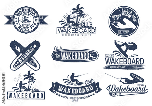 Fotografie, Obraz  Vintage vector set of logos for the wakeboard club for your unique design, printing on a T-shirt, the Internet